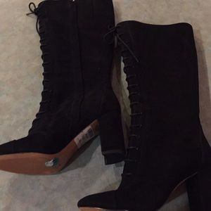 Nine West black suede lace up boots